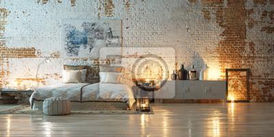 Panorama vintage schlafzimmer vor industriellen ziegelwand ...