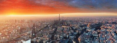 Fototapete Panorama von Paris bei Sonnenuntergang, Stadtbild