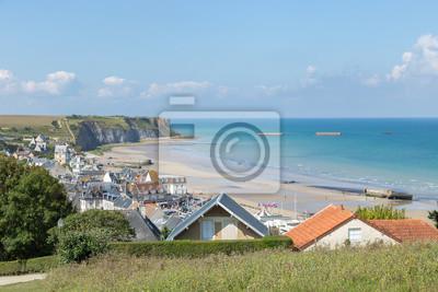 Panoramablick über Die D Day Strände Golden Beach In Arromanches Les