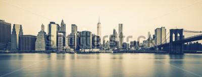 Fototapete Panoramablick von New York City Manhattan Midtown an der Dämmerung, spezielle photographische Verarbeitung