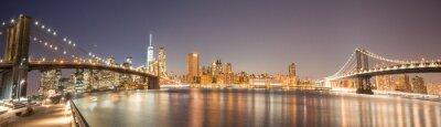 Fototapete Panoramic View Manhattan Bridge, Brooklyn Bridge und Manhattan Skyline bei Nacht