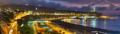 Fototapete Panoramische HDR Ansicht der Chorrollos Bucht in Lima, Peru.