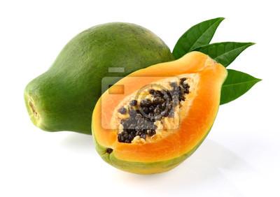 Fototapete Papaya mit Blättern