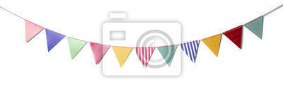 Fototapete Paper party flags for decoration and covering on white background.