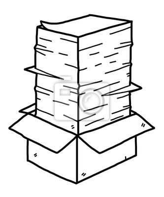 Fototapete Papier-Stack in Box / Cartoon Vektor und Illustration, schwarz und weiß, Hand gezeichnet, Skizze Stil, isoliert auf weißem Hintergrund.