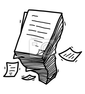 Fototapete Papierstapel / Karikaturvektor und Illustration, Schwarzweiss, Hand gezeichnet, Skizzenart, lokalisiert auf weißem Hintergrund.