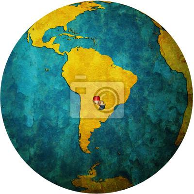 Globus Karte.Fototapete Paraguay Flagge Auf Globus Karte