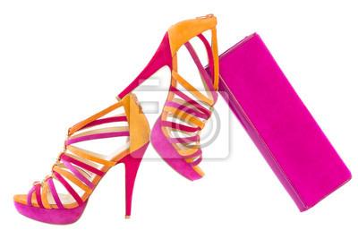 Pare von rosa und orange schuhe, isoliert fototapete • fototapeten ... 5cd76650f8