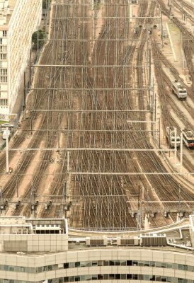 Fototapete Paris Bahnhof, Frankreich. Luftaufnahme