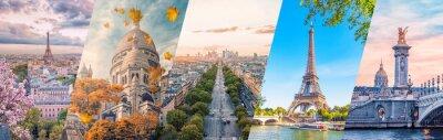 Fototapete Paris City famous landmarks collage