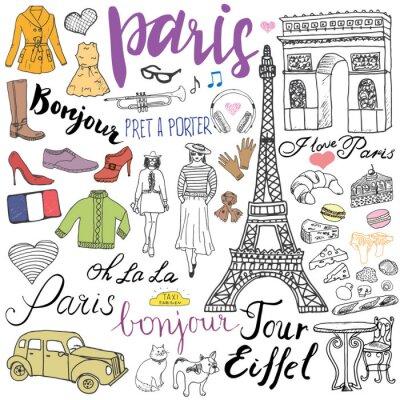 Fototapete Paris doodles Elemente. Hand gezeichnetes Set mit Eiffelturm gezüchtetem Kaffee, Taxi-Triumphbogen, Art und Weiseelemente, Katze und französische Bulldogge. Zeichnung doodle Sammlung und Beschriftung,