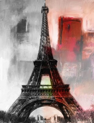 Fototapete Paris Eiffelturm Eifelturm Gemälde Bild Kunst Ölgemälde