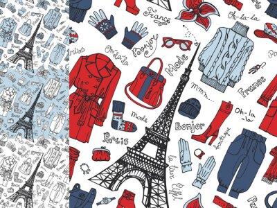 Fototapete Paris Fashion.Clothing nahtlose Muster set.Tricolor doodle