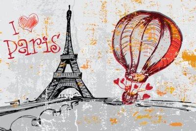 Fototapete Paris grunge Hintergrund mit Eiffelturm