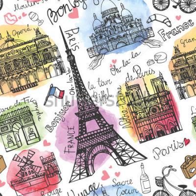 Fototapete Paris-Markstein, nahtloses Muster beschriftend Aquarell-Stein Weinlesegekritzel In der französischen guten Reise hallo Notre Dame, Eiffelturm, Sacre Coeur, großartige Oper, Arc de Triomphe, Moulin Rou