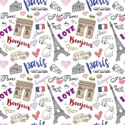 Fototapete Paris nahtlose Muster mit Hand gezeichnete Skizze Elemente - Eiffelturm Triumph Bogen, Modeartikel. Zeichnung doodle Vektor-Illustration, isoliert auf weiß