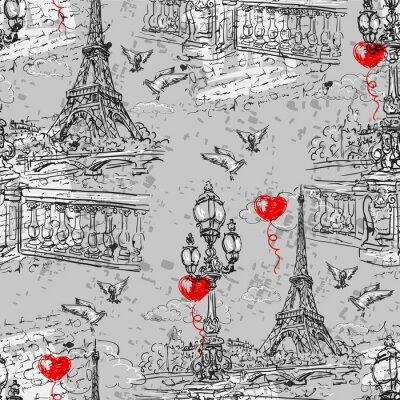 Fototapete Paris. Nahtloses Muster der Weinlese 3
