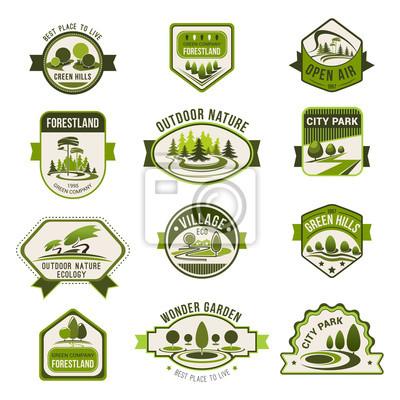 Park, grüne Stadt Garten, Öko Landschafts-Abzeichen gesetzt