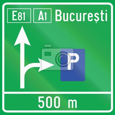 Parkplatz Schild auf Autobahn in Rumänien verwendet