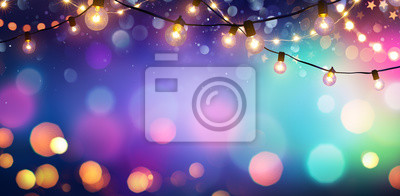Fototapete Party - Colorful Bokeh And Retro String Lights In Festive Background