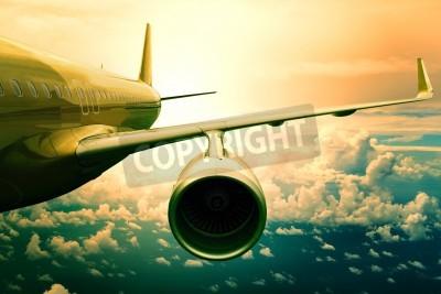 Fototapete Passagier-Jet Flugzeug über cloud scape Verwendung für Flugzeuge Transport und Reisen Business-Hintergrund Flyin