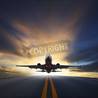 Fototapete passenger plane take off from runways against beautiful dusky sky with copy space use for air transport ,journey and traveling industry business
