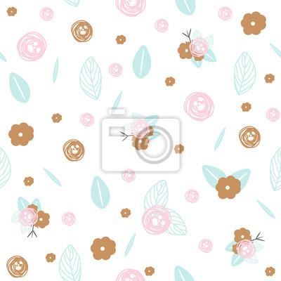 Fototapete Pastell floral nahtlose Muster. Gezeichnete Illustration des Vektors Hand.
