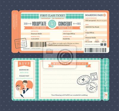 Pastell retro bordkarte-pass-hochzeits-einladungs-schablone ...