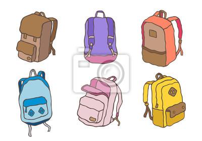 Fototapete Pastellsporttaschen-Rucksackschultaschen-Gekritzelvektor-Illustrationskarikatur stellte B ein