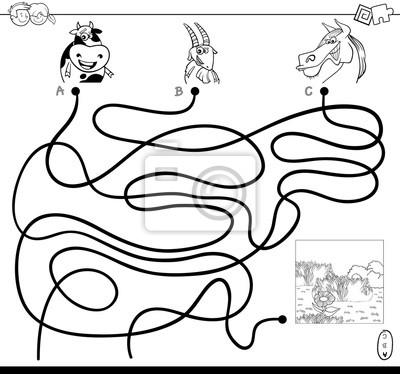 Fototapete: Path maze with farm animals color book