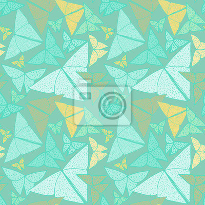 Pattern with beautiful origami butterflies drawing.