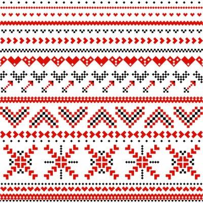 Fototapete Pattern with scandinavian expanding hearts