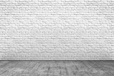 Fototapete Pavimento im zemento e muro in mattoni bianchi