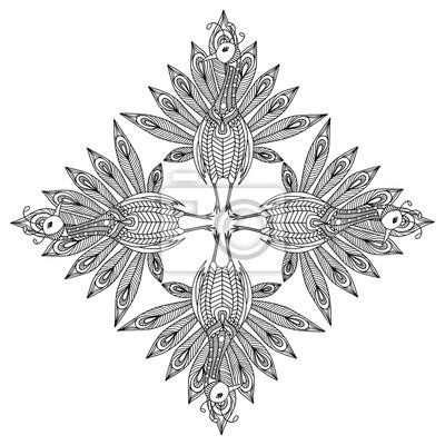 Fototapete Peafowl Ornament Malvorlage