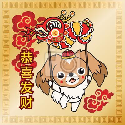 Pekingese, der chinesischen drachen hält, feiern glückliches ...