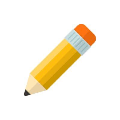 Fototapete pencil flat vector icon