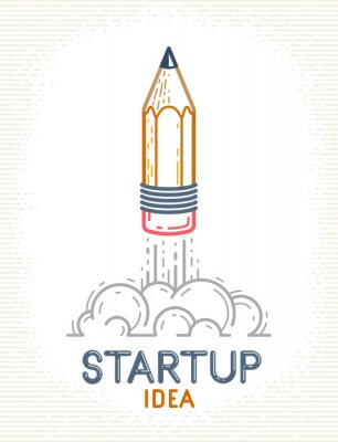 Fototapete Pencil launching like a rocket start up, creative energy genius artist or designer, vector design and creativity logo or icon, art startup.