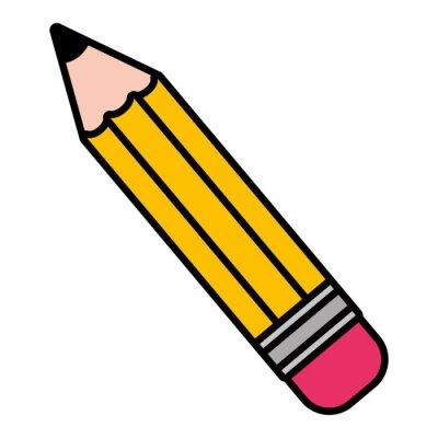 Fototapete pencil supply school on white background