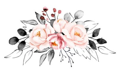 Fototapete Peonies, watercolor pink and gray flowers. Floral summer vintage illustration isolated on white background. Hand drawing. Perfectly for wedding, birthday, party, other greetings design.