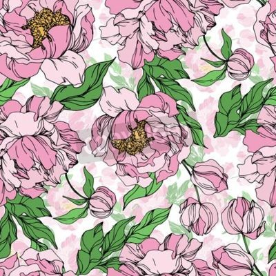Fototapete Peony floral botanical flowers. Wild spring leaf wildflower isolated. Black and white engraved ink art. Seamless background pattern. Fabric wallpaper print texture.