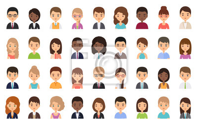 Fototapete People faces. Avatar character in flat design. Business person. Vector. Men and women icons isolated on white background. Set female, male office workers. Cartoon illustration.