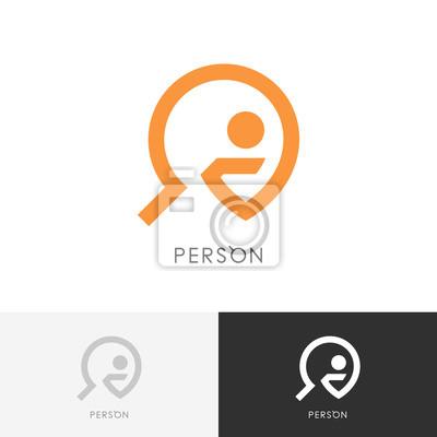 Person Suchen Logo Mann Oder Mensch Und Lupe Symbol