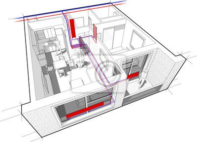 Perspektive cutaway diagramm einer ein-zimmer-wohnung komplett ...