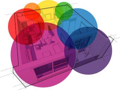 Perspektive schnittdiagramm einer wohnung mit einem schlafzimmer ...
