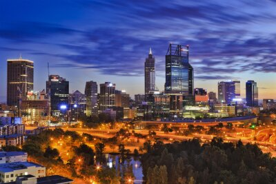 Fototapete Perth CBD Park Sonnenaufgang