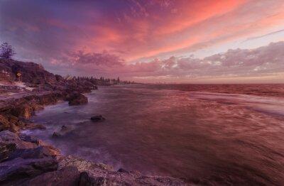 Fototapete PERTH Strand Felsen Sonnenuntergang