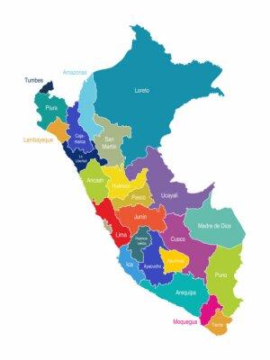 Fototapete Peru Karte Regionen Vektor