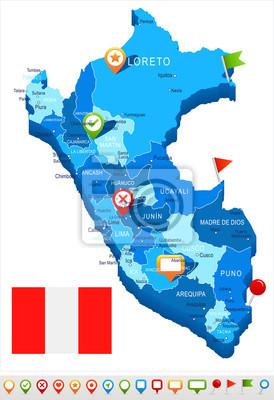 Peru Karte.Fototapete Peru Karte Und Flagge Illustration