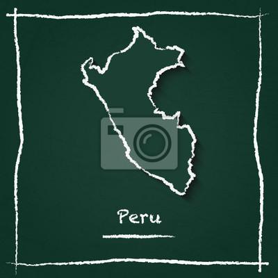 Peru Karte Umriss.Fototapete Peru Umrisse Vektor Karte Hand Gezeichnet Mit Kreide Auf Eine