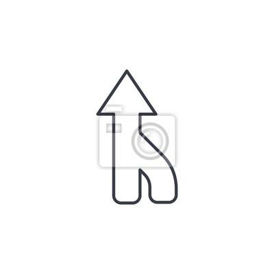 Pfeil nach oben, richtung, verbindung dünne linie symbol. lineare ...